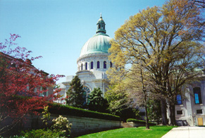 [color photograph of U.S. Naval Academy Chapel, Annapolis]