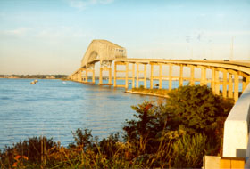 [color photograph of Key Bridge over Patapsco River, Baltimore, Maryland]