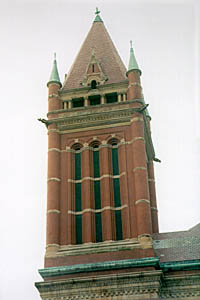 [color photograph of Allegany County Courthouse tower]