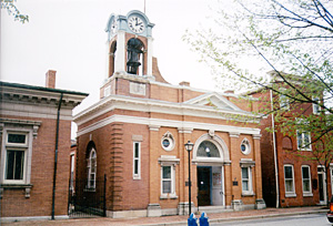 [Color photograph of Centreville Town Hall, Centreville, Maryland]